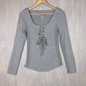 Free People lace up long sleeve tee grey M